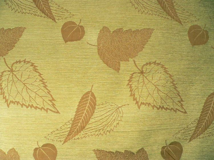 """Beige//Brown//White w//Leaves Durable 56/"""" Wide Upholstery Fabric Sold by the Yard"""