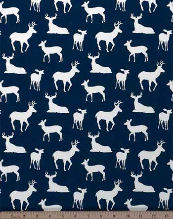 Deer Silhouette Premier Navy / White Fabric: Best Fabric Store ...