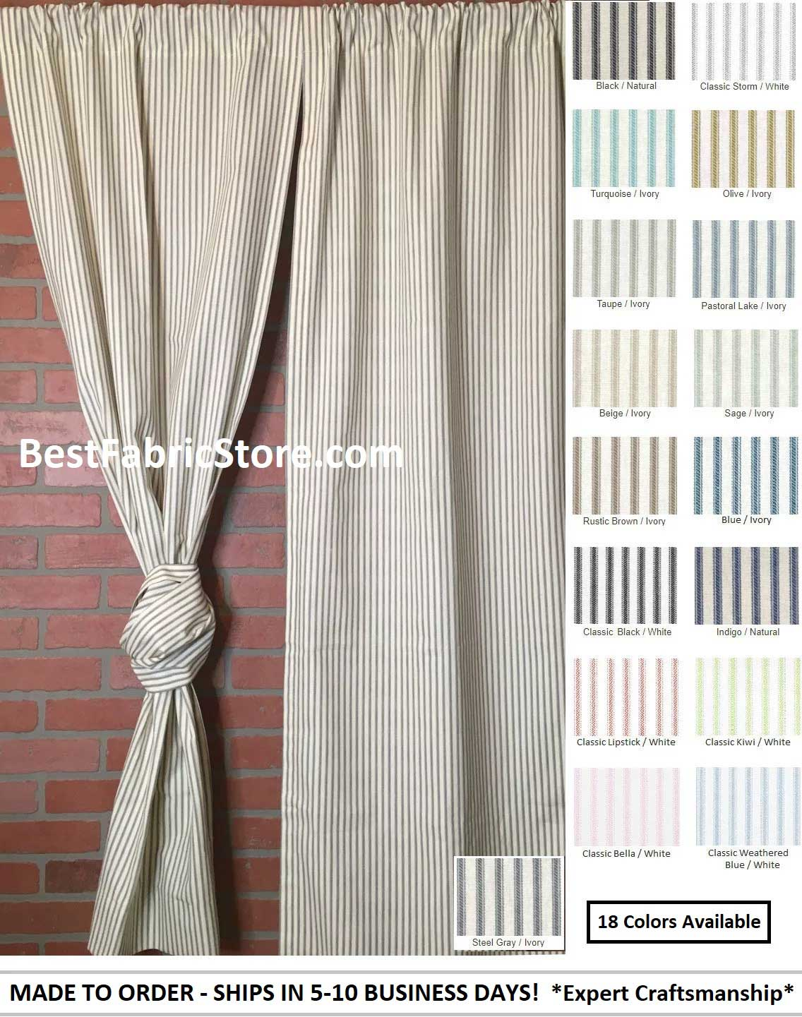 Farmhouse Rod Pocket Ticking Stripe Curtains Or Valance Made To Order Best Fabric Store