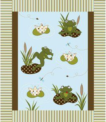 Springs Creative 3D Flannel Frog On Lily Pad Nursery Baby Quilt Panel Fabric