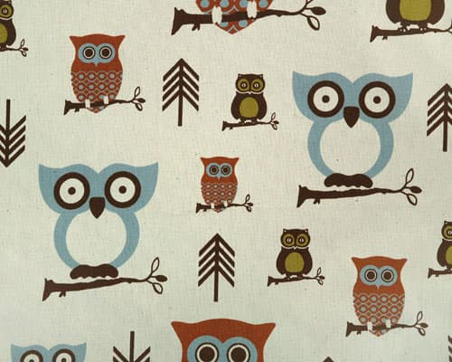 Hooty Hoot Roll Call Owl Sky Blue Fabric BHY