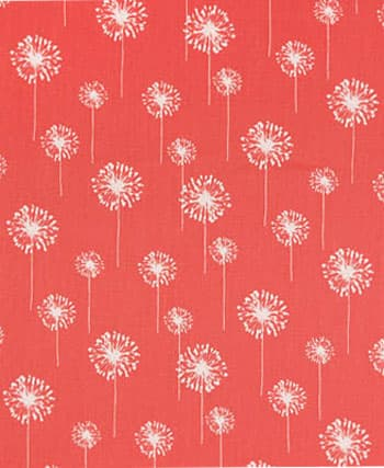 Small Dandelion Coral Fabric / White: Best Fabric Store