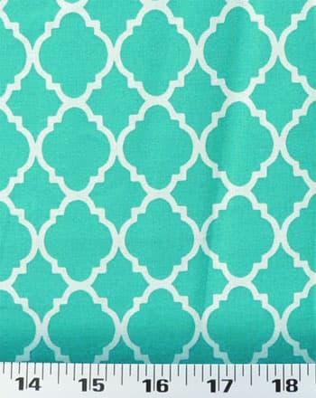 quatrefoil turquoise white
