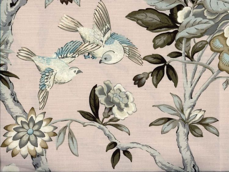 Turquoise Multi Natural Linen Look Canvas Fabric Funky Birds /& Polka Dots