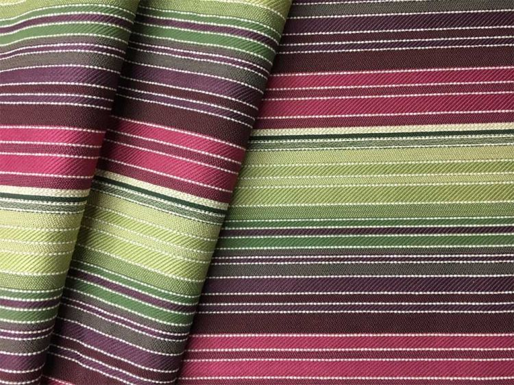 cotton poly blend vintage striped upholstery fabric Purple upholstery fabric w yellow green white stripes