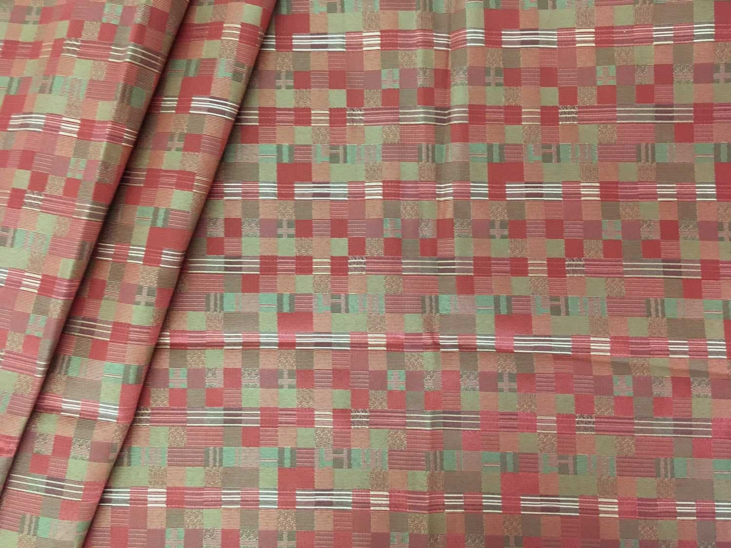 50/% OFF NEXT RED CHECK WEAVE UPHOLSTERY CURTAIN FABRIC MATERIAL SALE