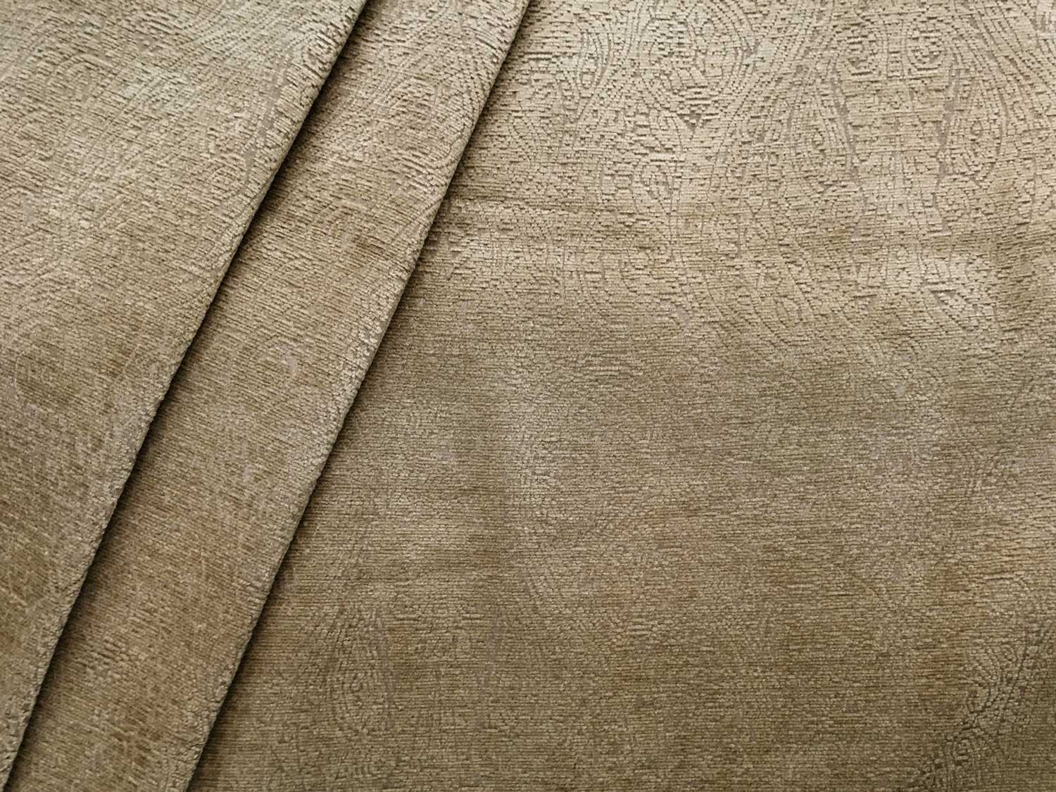 Snow Drapery Upholstery Fabric Tone on Tone Chenille Jacquard Leaf Pattern