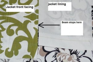 Facing, lining seam