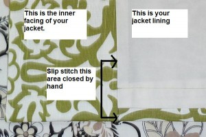 Slip stitch opening