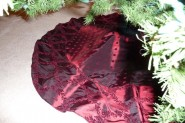 Luxurious burgundy Christmas tree skirt
