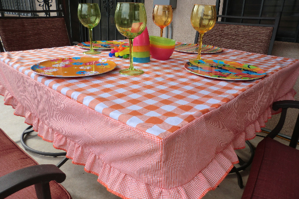 Fitted Ruffled Tablecloth In Gingham Best Fabric Store Blog