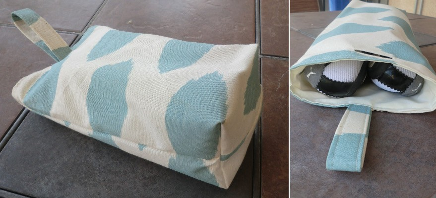 Travel shoe bags + technique: a finished opening in fabric ...